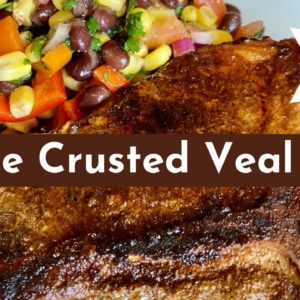 Coffee Crusted Veal Chop with Cowboy Caviar