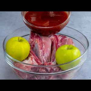 I DON'T cook PORK ribs without APPLES! Extremely tender recipe
