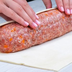 The tasties DELICACY made of MINCED MEAT and BOUGHT PASTRY DOUGH
