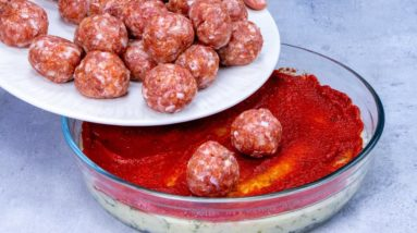 The favorite DINNER of our FAMILY in one tray! We CAN'T GET TIRED of meatballs!