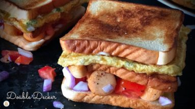 Woke up Hungry? You NEED this Double Decker Breakfast Sandwich!
